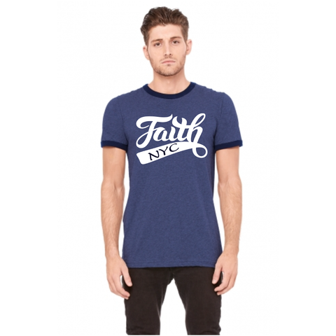 Men's FAITH NYC Ringer Tee - Heather Navy Midnight