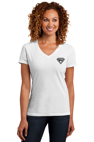FBF Ladies V-Neck with Shield Logo Left Chest - White