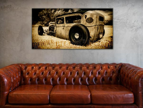 garage hot rod art poster