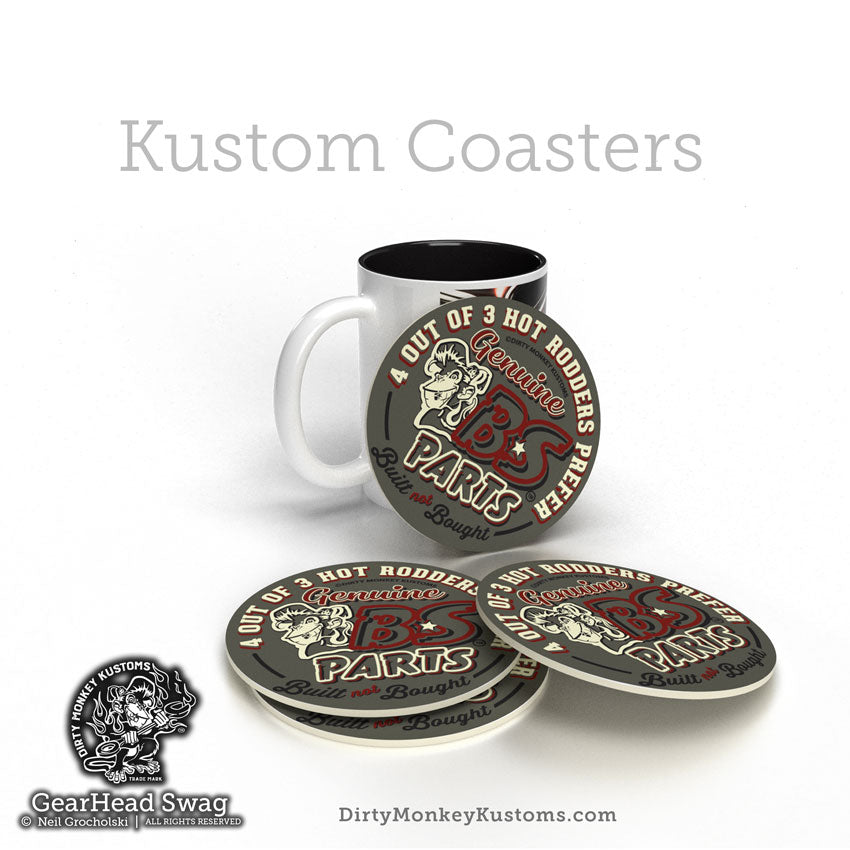 """B*S Speed Parts"" HotRodder Kustom Coasters"