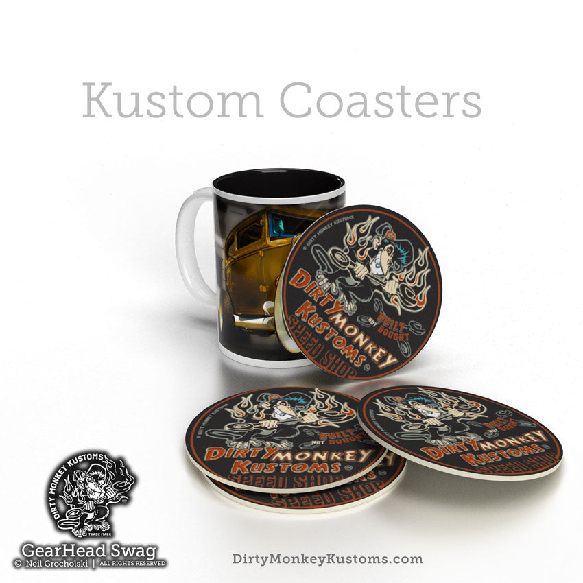 """DIRTY-MONKEY"" HotRod Rockabilly Coasters"