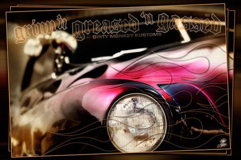 "Kustom ""Flamed Merc"" original Hot Rod photo garage banner"