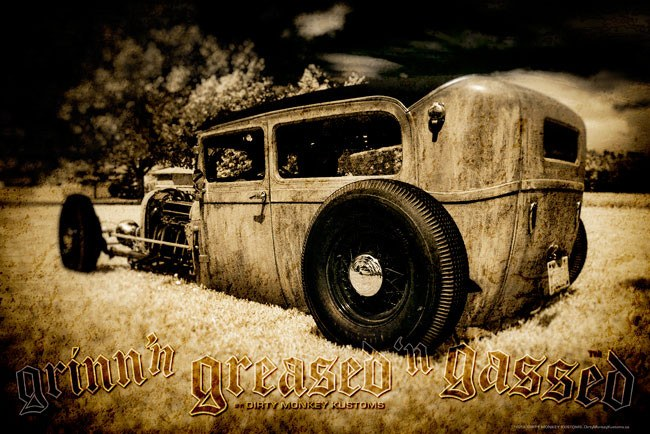 """Low Boy"" Rat Rod photo garage banner"