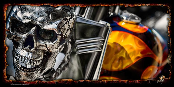 """Flamed Out"" original Chopper photo garage banner"