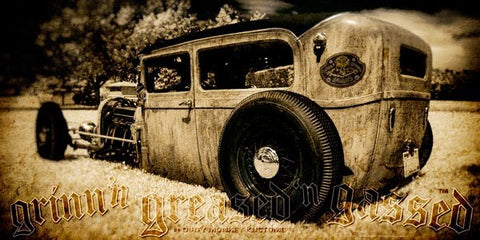 """Low Boy"" original Rat Rod photo garage banner"