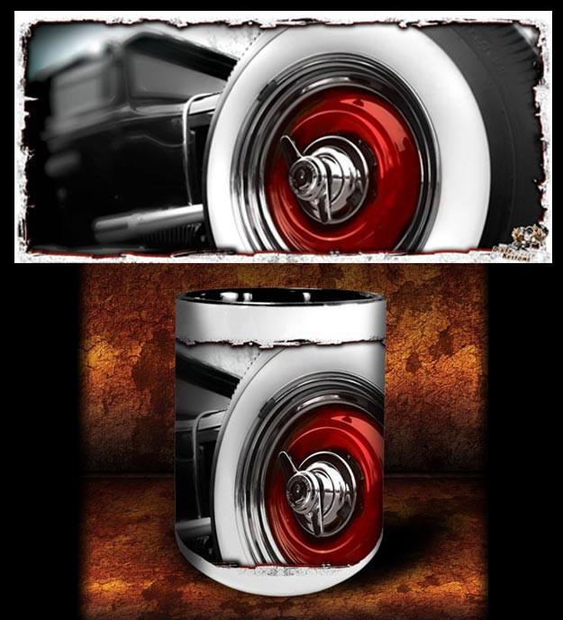 'Big Red' hot rod kustom coffee mug - Dirty Monkey Kustoms - 1