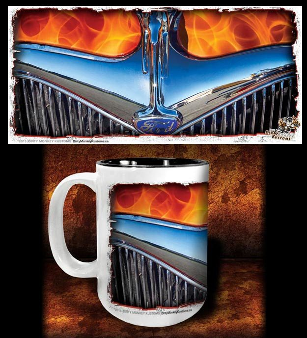 'Flame 'n '34'  hot rod kustom coffee mug - Dirty Monkey Kustoms - 1