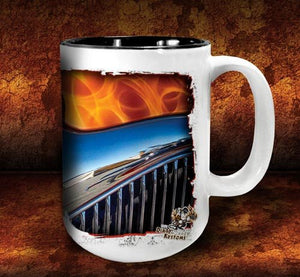 'Flame 'n '34'  hot rod kustom coffee mug - Dirty Monkey Kustoms - 4