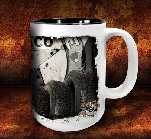 'Tired Out'  kustom coffee mug - Dirty Monkey Kustoms - 4