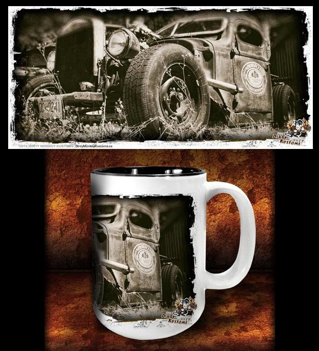 'Colin's Revenge'  kustom rat rod coffee mug - Dirty Monkey Kustoms - 1