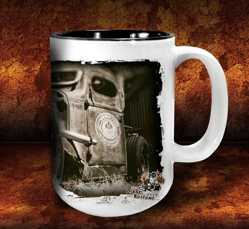 'Colin's Revenge'  kustom rat rod coffee mug - Dirty Monkey Kustoms - 4