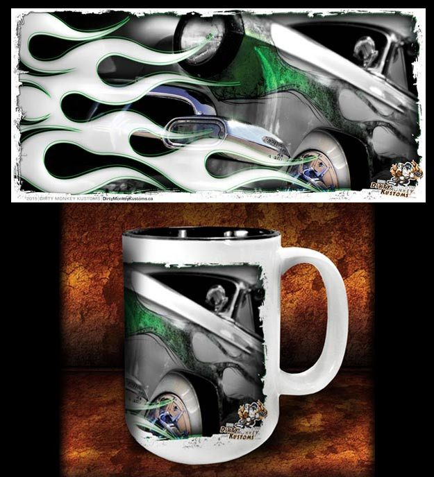 'Green Mile'  kustom hot rod coffee mug - Dirty Monkey Kustoms - 1