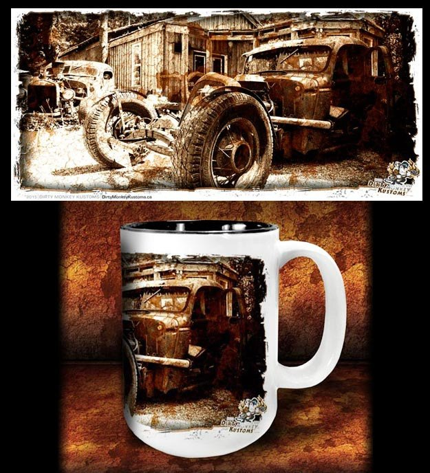 'Rat Brothers'  kustom rat rod coffee mug - Dirty Monkey Kustoms - 1