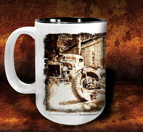 'Rat Brothers'  kustom rat rod coffee mug - Dirty Monkey Kustoms - 4