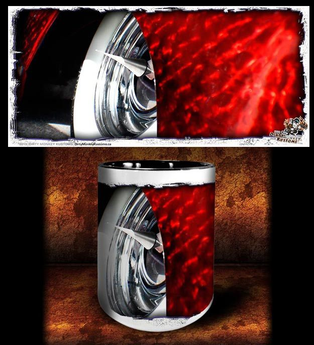 'Spiked Red'  kustom hot rod coffee mug - Dirty Monkey Kustoms - 1