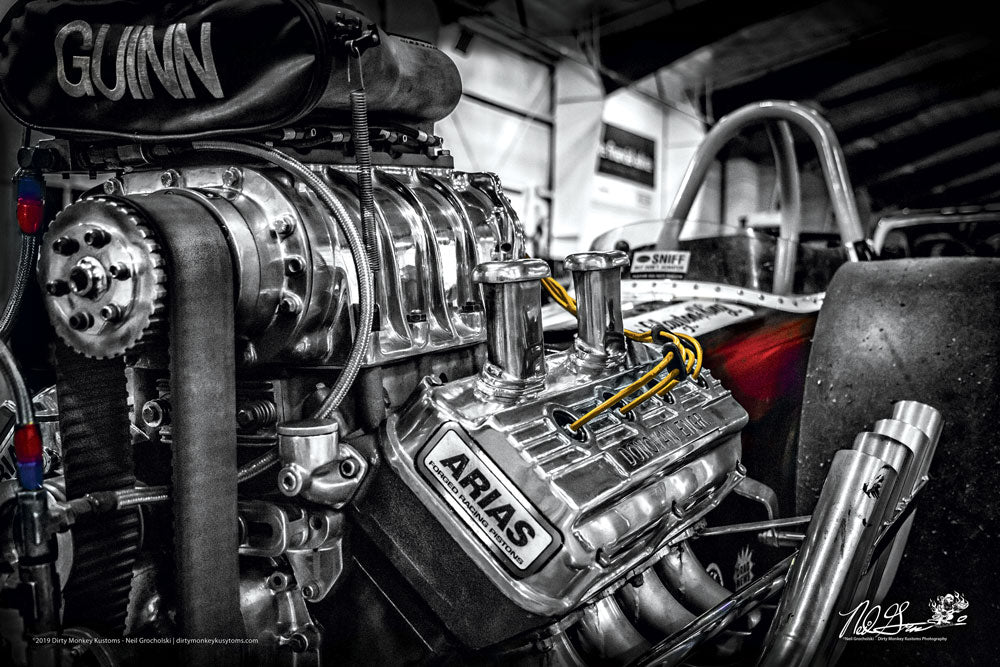 """GUINN""  Hot Rod dragster art photo poster print"