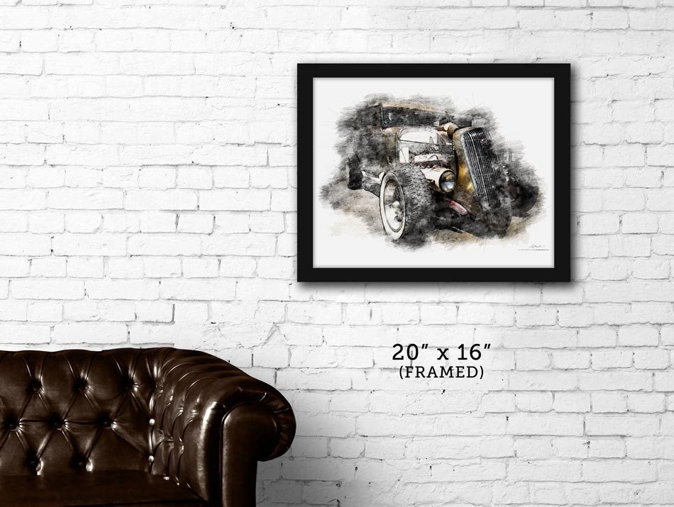 "FRAMED ""Golden Boy""  Hot Rod '32 Ford sedan print"