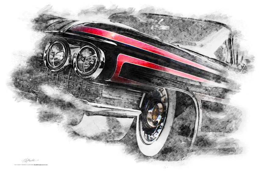 "FRAMED ""Line Em Up"" 1960 Cadillac Hot Rod print"