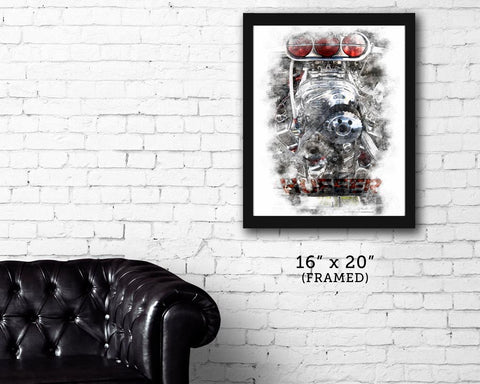 "FRAMED ""HUFFER""  Street Rod garage art print"