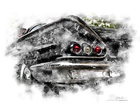 "FRAMED ""Go Kiss A Duck""  '58 Chevy Impala  photo poster print"