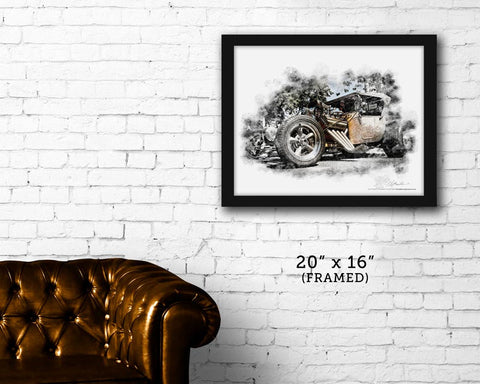 "FRAMED ""T Bucket""  Ford T-bucket Hot Rod image print"