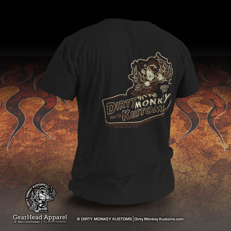 """Dirty Monkey Kustoms"" Speed Shop Vintage car guy t shirts"