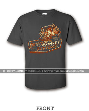 """Dirty Monkey Kustoms"" Kids retro hotrod t shirts"