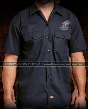 """Dirty Monkey Kustoms"" vintage hot rod ol skool authentic Dickies work shirt"