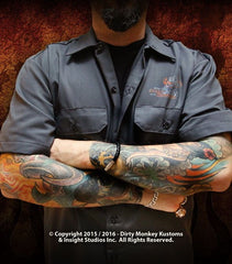 Hot Rodder -  GGG Dickies Crossed Pistons work shirt - Dirty Monkey Kustoms - 3