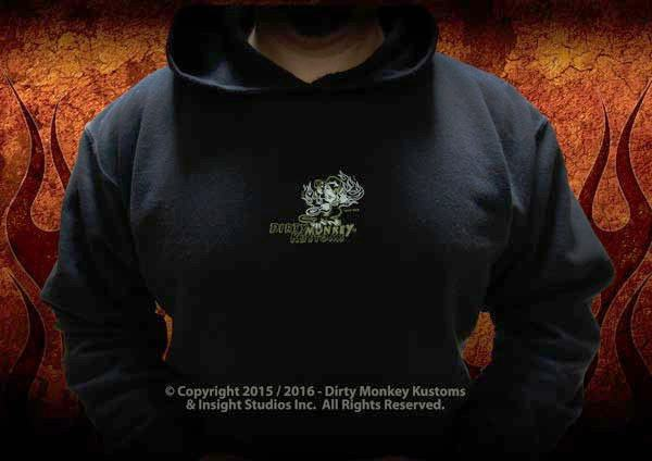 Kustom original design -  Rockabilly Skull & Wrenches hoodie - Dirty Monkey Kustoms - 3