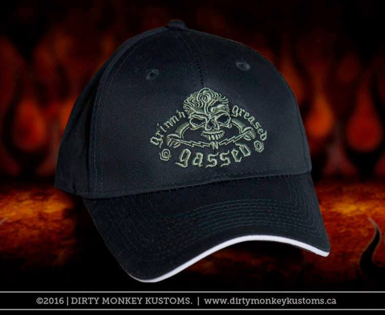 GGG Rockabilly Skull - Embroidered BLACK ball cap