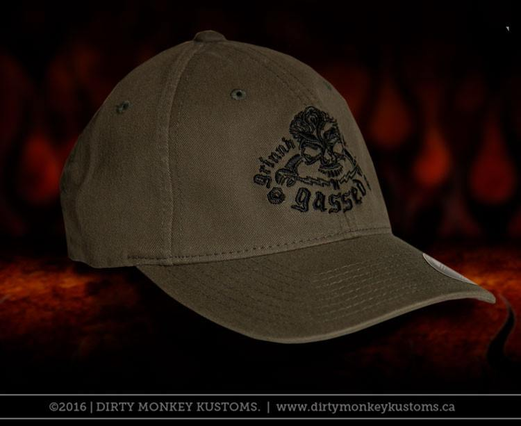 51cd938d GGG Rockabilly Skull - Olive color Flex Fit hat