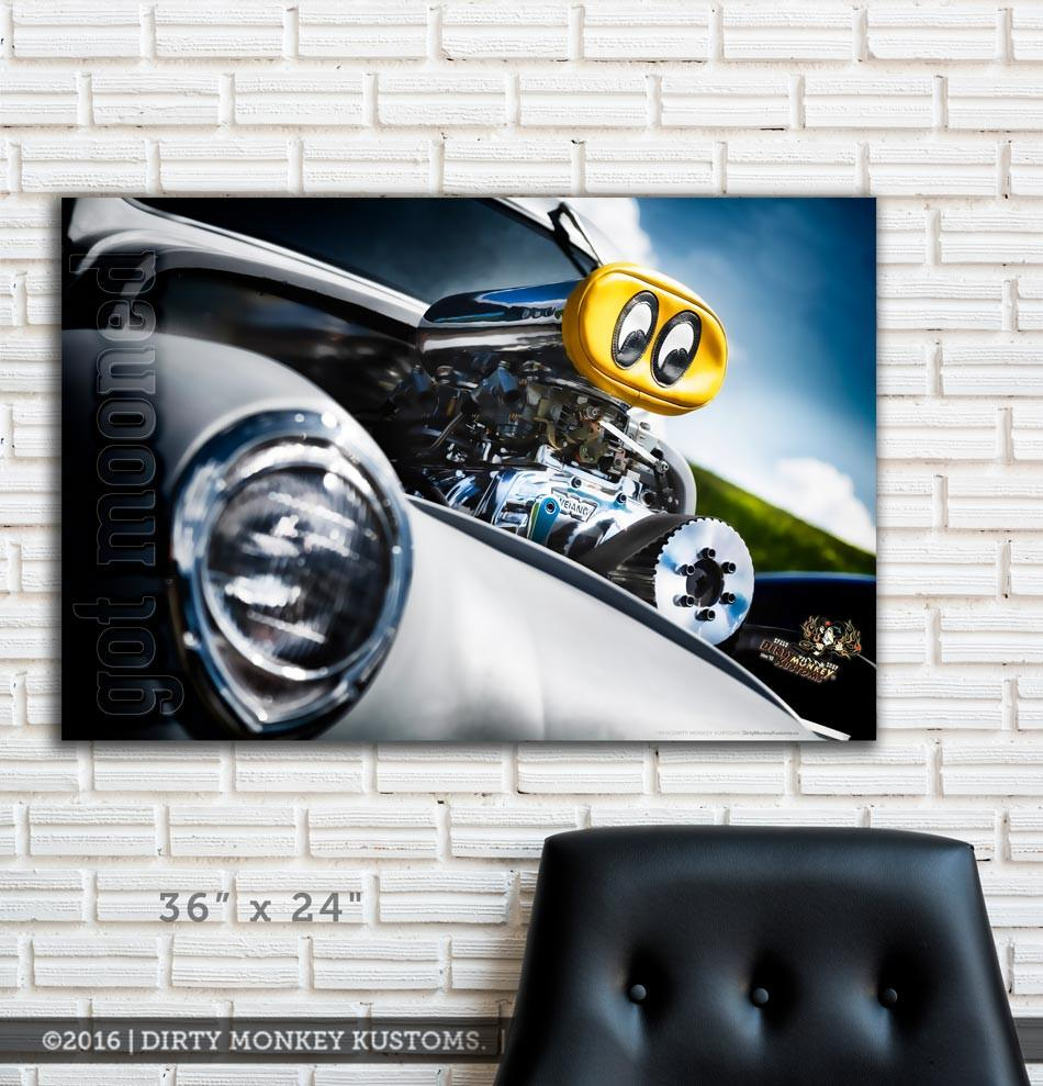 "Kustom ""Got Mooned"" original Street Rod photo garage banner"