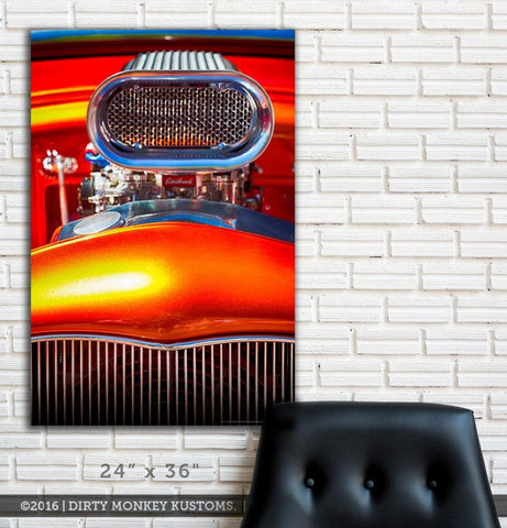 "Kustom ""Orange Crush"" original Street Rod garage art banner"
