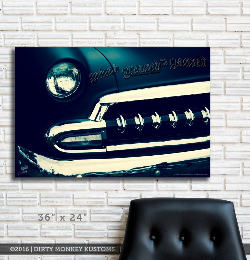 "Kustom "" '54 Chev Blue Boy"" original Hot Rod photo garage art banner"