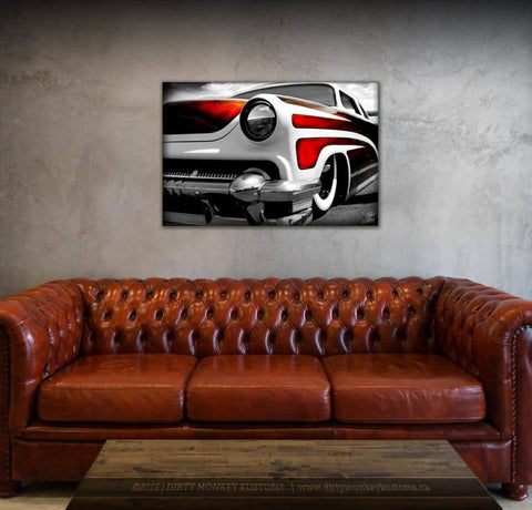 """Burn'n Scallops"" Hot Rod garage art photo vinyl print / banner"