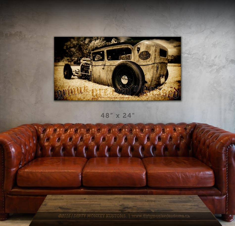 """Low Boy"" original Rat Rod '29 Ford garage art CANVAS print"