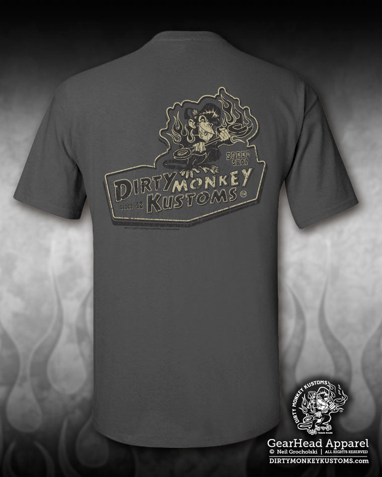 """Dirty Monkey Kustoms"" vintage hot rod tee shirt - ol' school design"