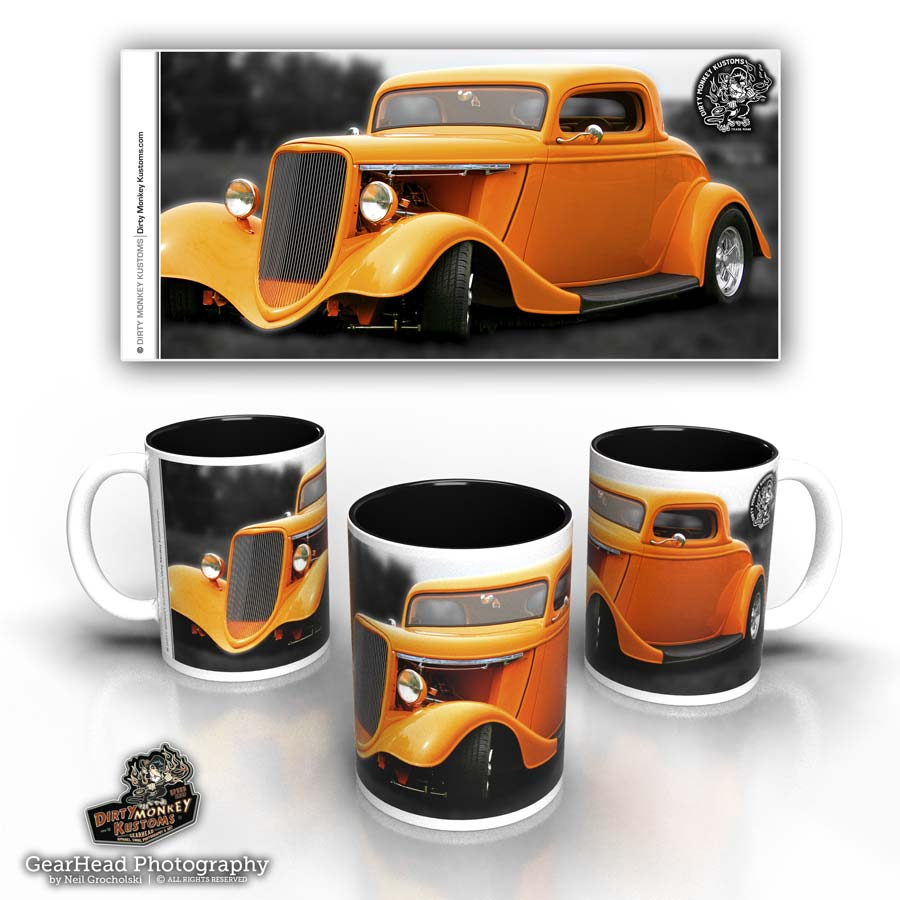 'Tangerine' kustom hot rod coffee mug