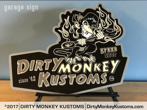"""Dirty Monkey Kustoms Speed Shop"" grey garage art sign"