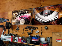 "Kustom ""Flamed Merc"" original Hot Rod photo garage banner - Dirty Monkey Kustoms - 2"