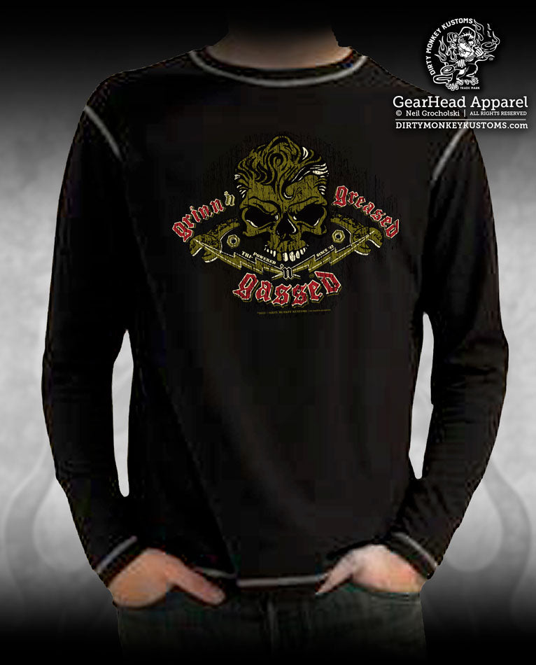 """Skull & Wrenches"" Long Sleeve shirt - Rockabilly design"