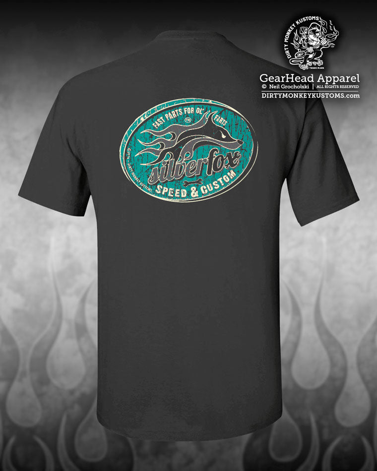 Silver Fox Hot Rod charcoal teal t shirt