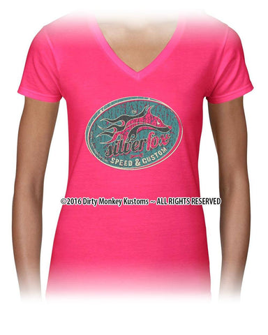 """Silver Fox"" Women's Hot Rod t shirt - Kustom original design in Pink"