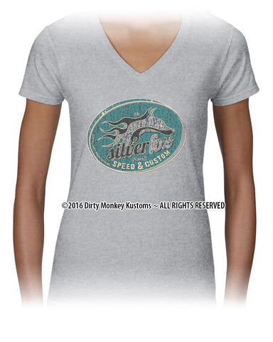 """Silver Fox"" Women's Hot Rod t shirt - Kustom original design in Grey"