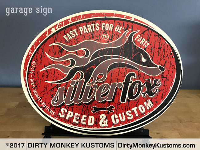 """Silver Fox"" garage art sign"