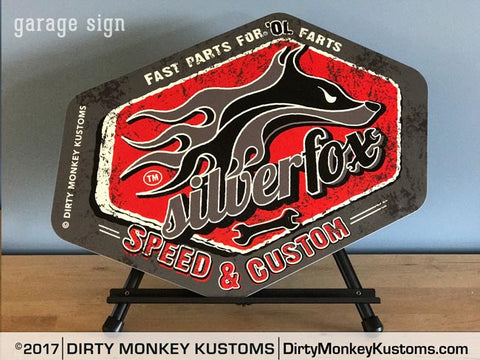 """Silver Fox"" Retro Grey garage art sign"