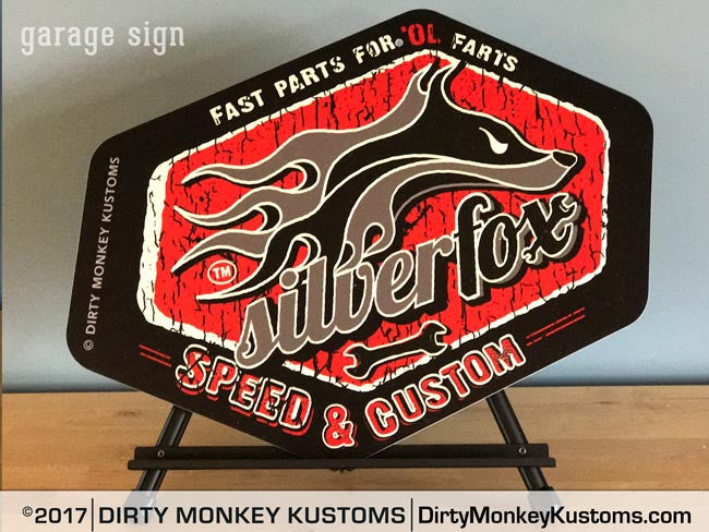 """Silver Fox"" Retro black garage art sign"