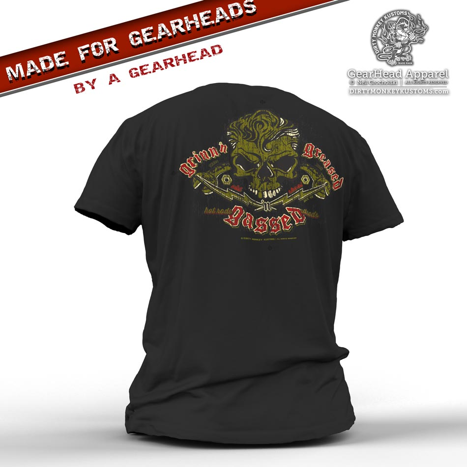 Rockabilly Skull & Wrenches t shirt - Kustom design