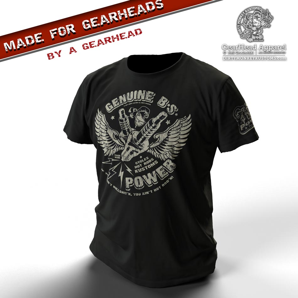 """BS Spark Plugs"" vintage GearHead hot rodder t shirt"